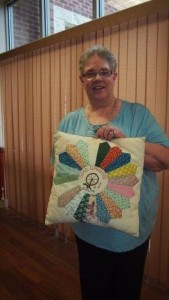 Eileen with quilted pillow